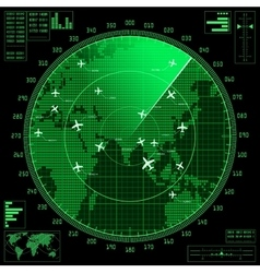 Green radar screen with planes and world map vector image vector image