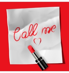 Lipstick and inscription Call me vector image