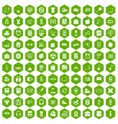 100 learning kids icons hexagon green vector image vector image