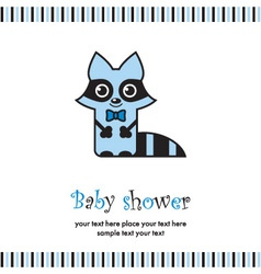 baby shower with cute raccoon vector image