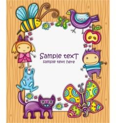 children cartoon frame vector image vector image