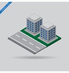 isometric city - road and two buildings vector image