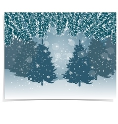 New year card blue realistic fir branches with vector