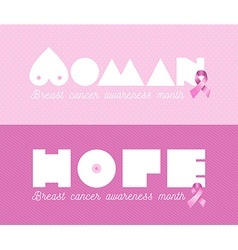 Woman breast cancer awareness pink banner set vector image