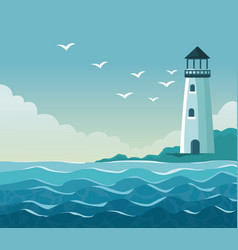 colorful poster seaside with lighthouse in coast vector image