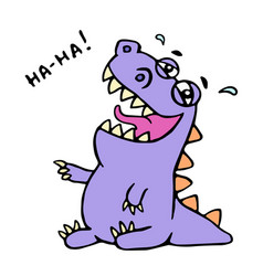 cute purple dragon funny laughs vector image vector image