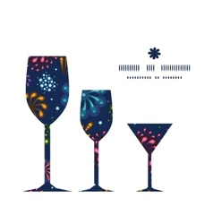 holiday fireworks three wine glasses silhouettes vector image vector image