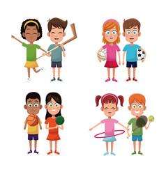 set kids sport player image vector image