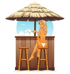 Sexy girl in beach bar vector image vector image