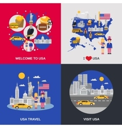USA Culture 4 Flat Icons Square vector image