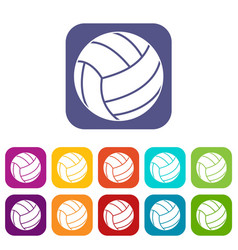 Volleyball ball icons set flat vector