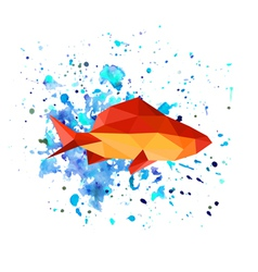 Abstract origami fish on watercolor background vector