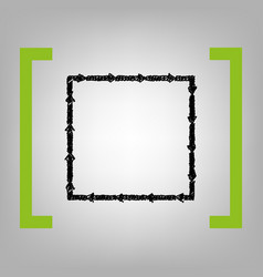 Arrow on a square shape black scribble vector