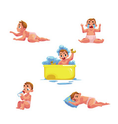 Baby kid infant daily routine - eat sleep bath vector