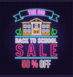 back to school sale neon design or emblem vector image