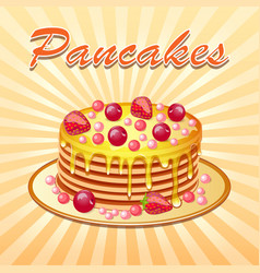 Background of pancakes with honey and cherry vector