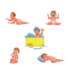 Bakid infant daily routine - eat sleep bath vector
