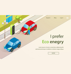 Banner is written i prefer eco enegry cartoon vector