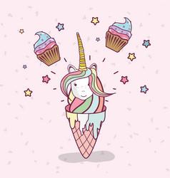 Birthday party unicorn party cartoons vector