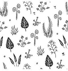 Botanica - seamless stylized black pattern vector