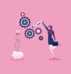 businesswoman implements a business idea concept vector image