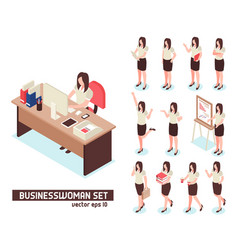 Businesswomen isometric set vector