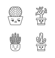 Cactuses cute kawaii linear characters vector