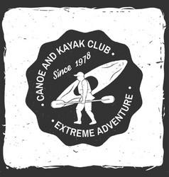 Canoe and kayak club badge vector