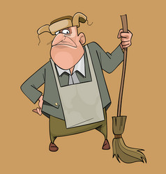 Cartoon man janitor in fur hat with broom in hand vector