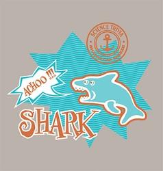 Cartoon shark print for kids vector