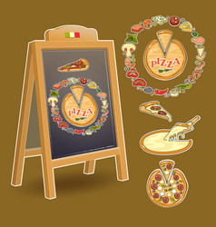 Chalkboard and set of colorful pizza ingredien vector
