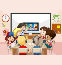 Children using laptop for communicate video vector