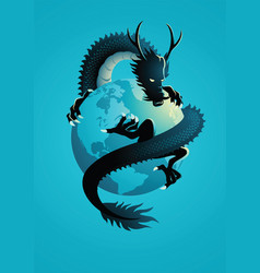 Chinese dragon encircling world vector