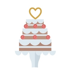 Chocolate cream birthday cake topped pie isolated vector