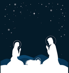 Christian christmas scene with birth of jesus and vector