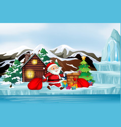 Christmas scene with santa and present vector