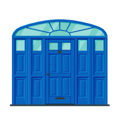 Classic blue door vintage style facade design vector