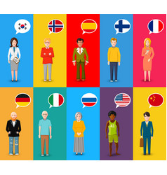 colourful characters with speech bubbles vector image