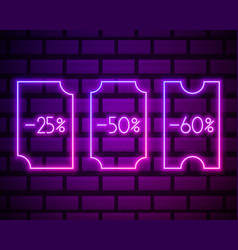 coupon neon set icons percent off set neon vector image