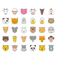 Cute animal face included farm forest and african vector