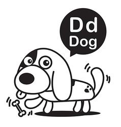 D dog cartoon and alphabet for children vector