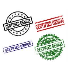 Damaged textured certified genius seal stamps vector