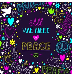 dark purple love and peace theme background with vector image