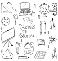 Doodle of hand draw education supplies collection vector
