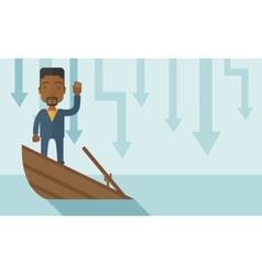 Failure black businessman standing on a sinking vector