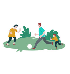 family playing football isolated icon summer vector image