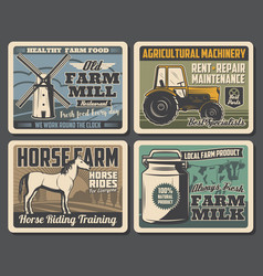 Farm horse cow and tractor milk can windmill vector