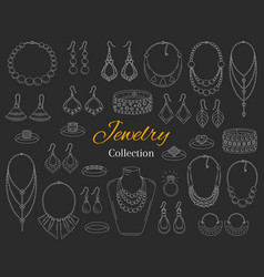 Fashionable jewelry collection hand drawn vector