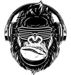 Ferocious gorilla in headphones vector