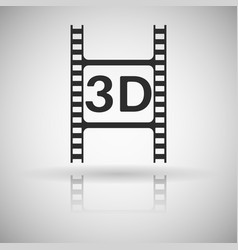 film clip black flat icon with shadow and vector image